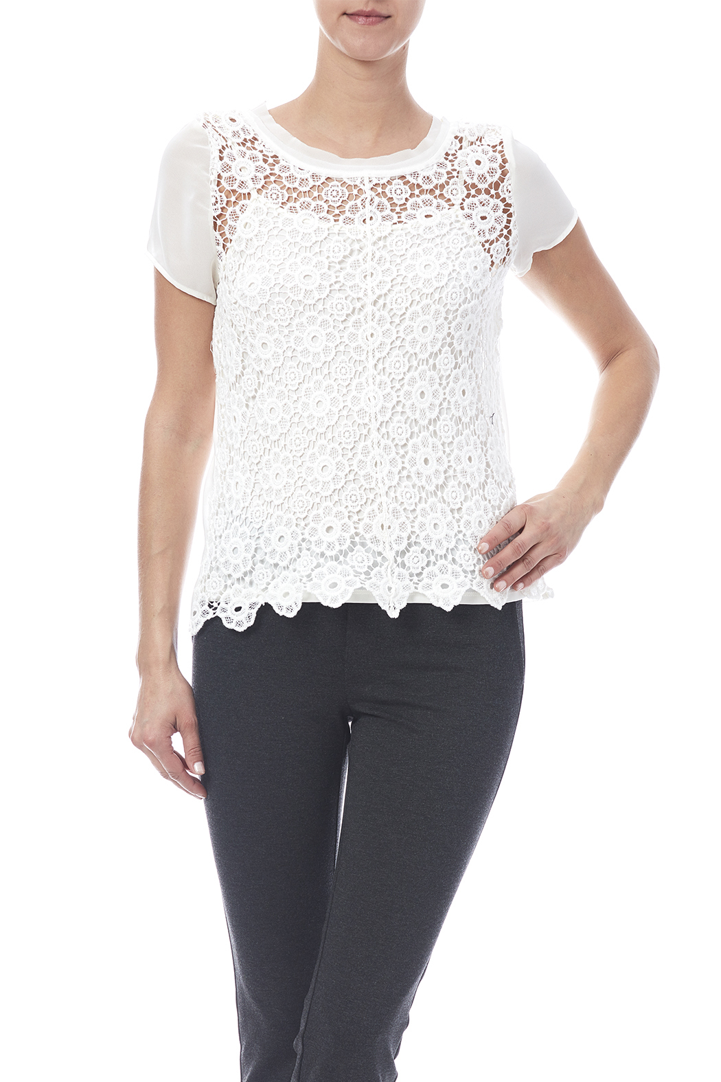 0735812909064 Adiva Sheer Lace Top from Oklahoma by Wanderlust — Shoptiques