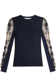 Veronica Beard Adler Navy Mixed Media Sweater - Front cropped