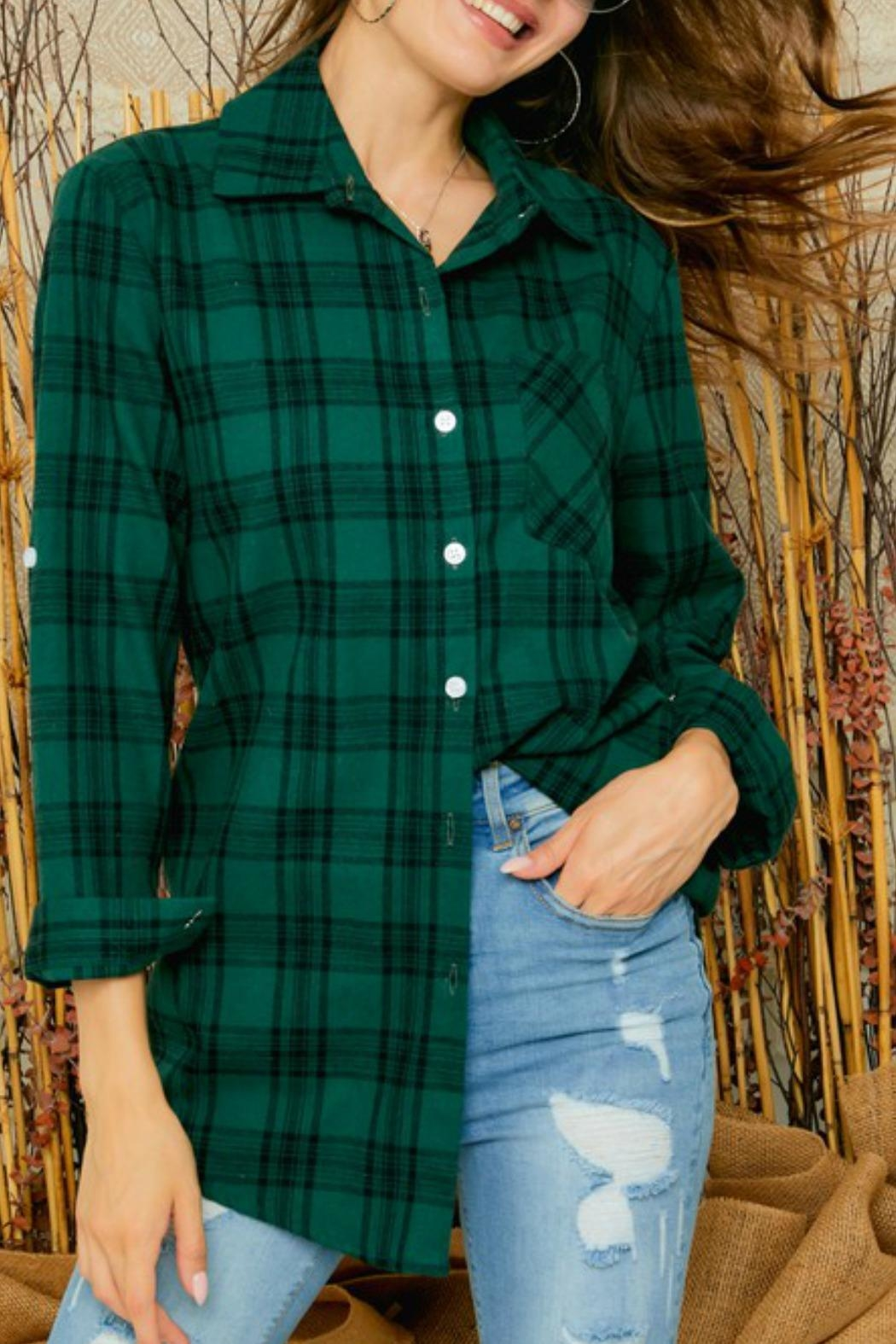 Adora Ally Plaid Shirt - Front Cropped Image