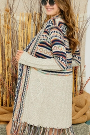 Adora Aztec Print Boho Knit Sweater Cardigan With Tassel Bottom - Front cropped