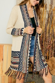 Adora Aztec Tribal Pattern Sweater Knit Shawl Collar Cardigan With Fringes - Product Mini Image