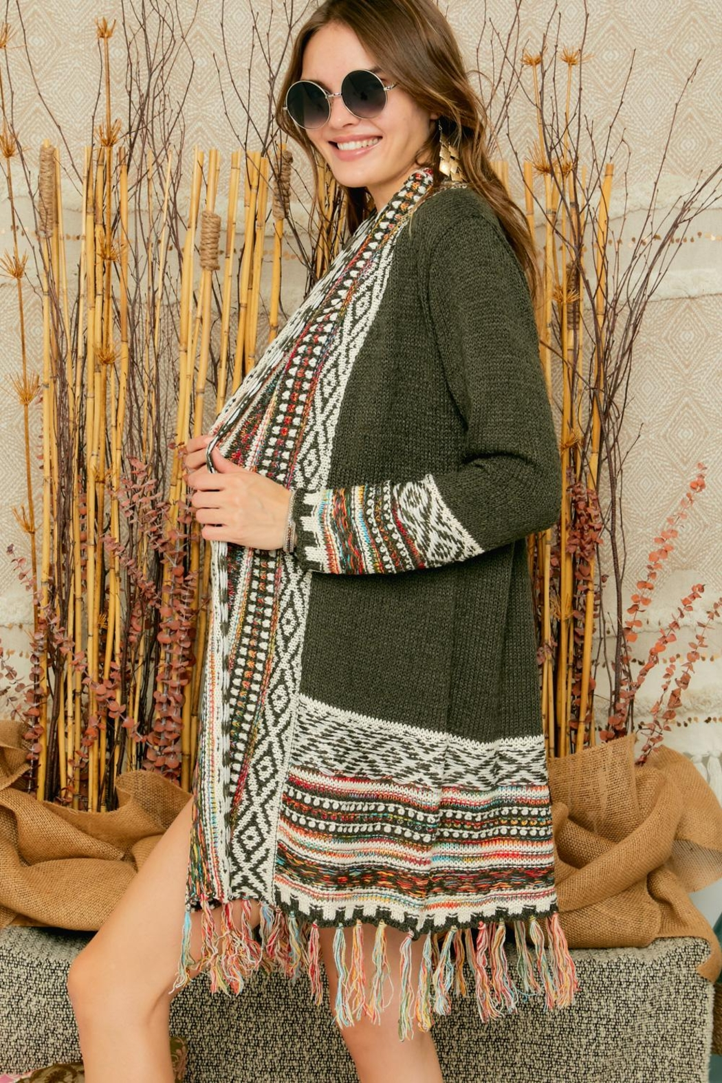 Adora Aztec Tribal Pattern Sweater Knit Shawl Collar Cardigan With Fringes - Front Full Image