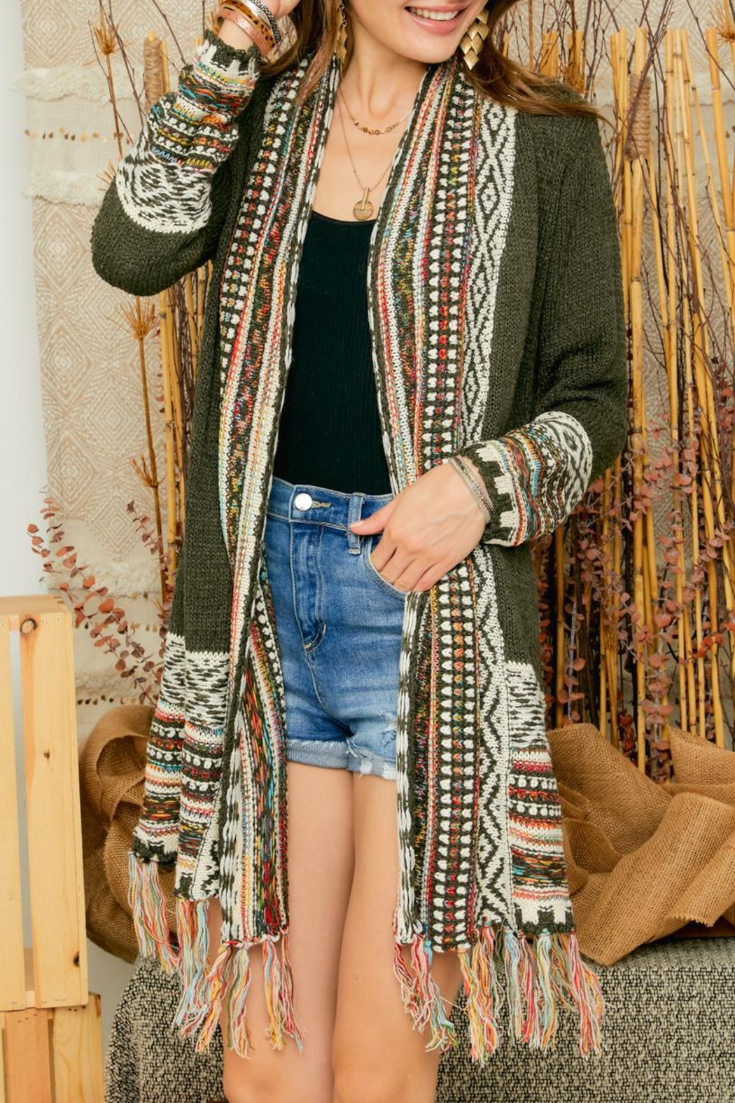 Adora Aztec Tribal Pattern Sweater Knit Shawl Collar Cardigan With Fringes - Main Image