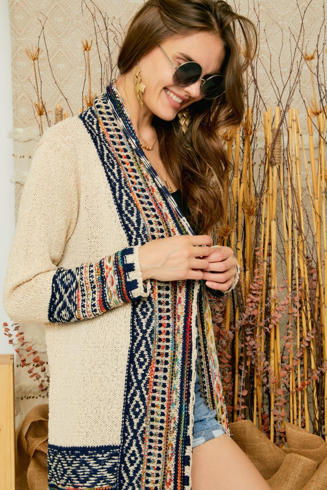 Adora Aztec Tribal Pattern Sweater Knit Shawl Collar Cardigan With Fringes - Back Cropped Image