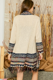 Adora Aztec Tribal Pattern Sweater Knit Shawl Collar Cardigan With Fringes - Other