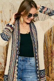 Adora Aztec Tribal Pattern Sweater Knit Shawl Collar Cardigan With Fringes - Side cropped