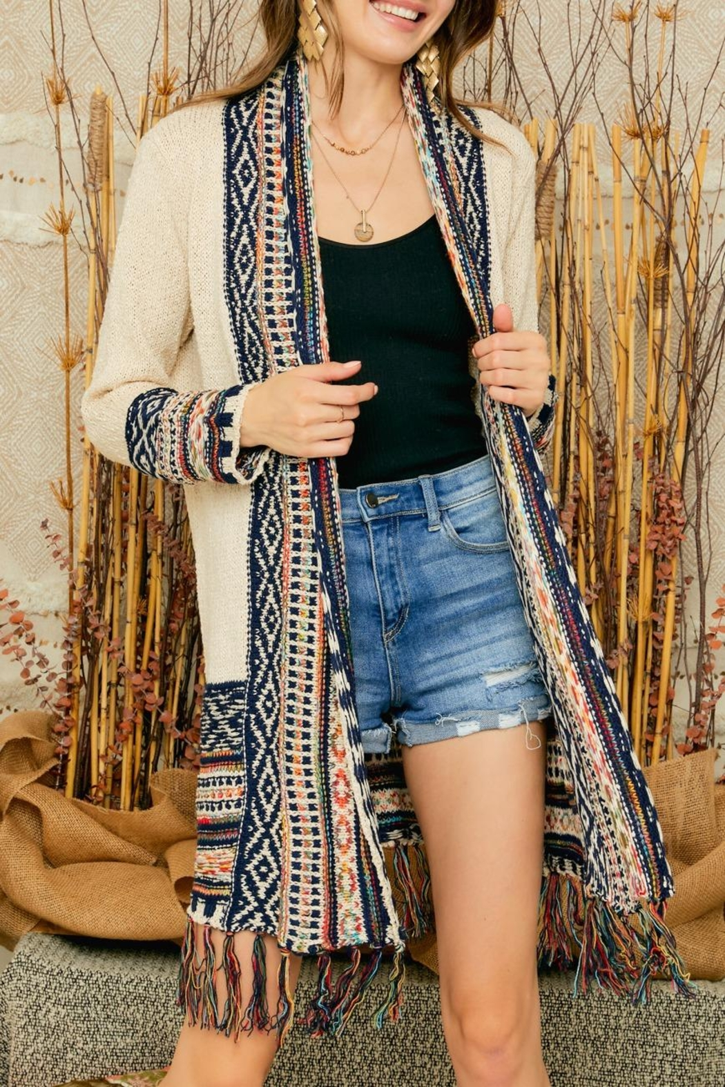 Adora Aztec Tribal Pattern Sweater Knit Shawl Collar Cardigan With Fringes - Front Cropped Image