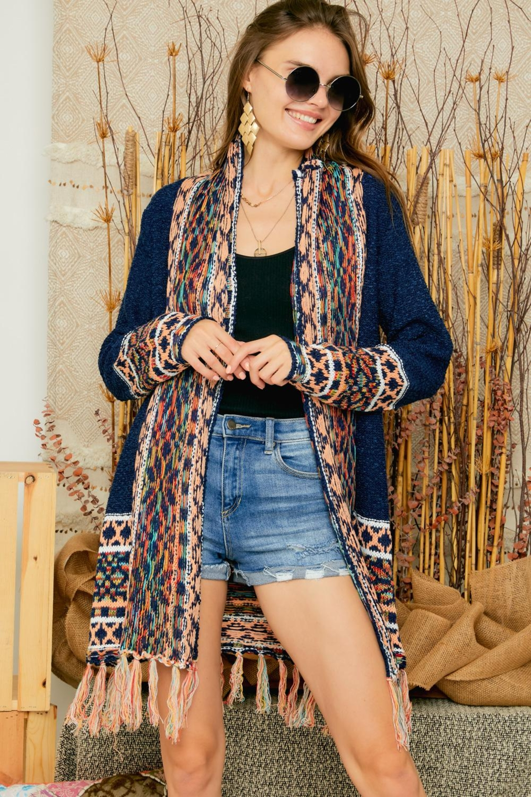 Adora Aztec Tribal Patterned Shawl Collar Knit Cardigan With Tassel - Front Full Image