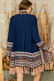 Adora Aztec Tribal Patterned Shawl Collar Knit Cardigan With Tassel - Other