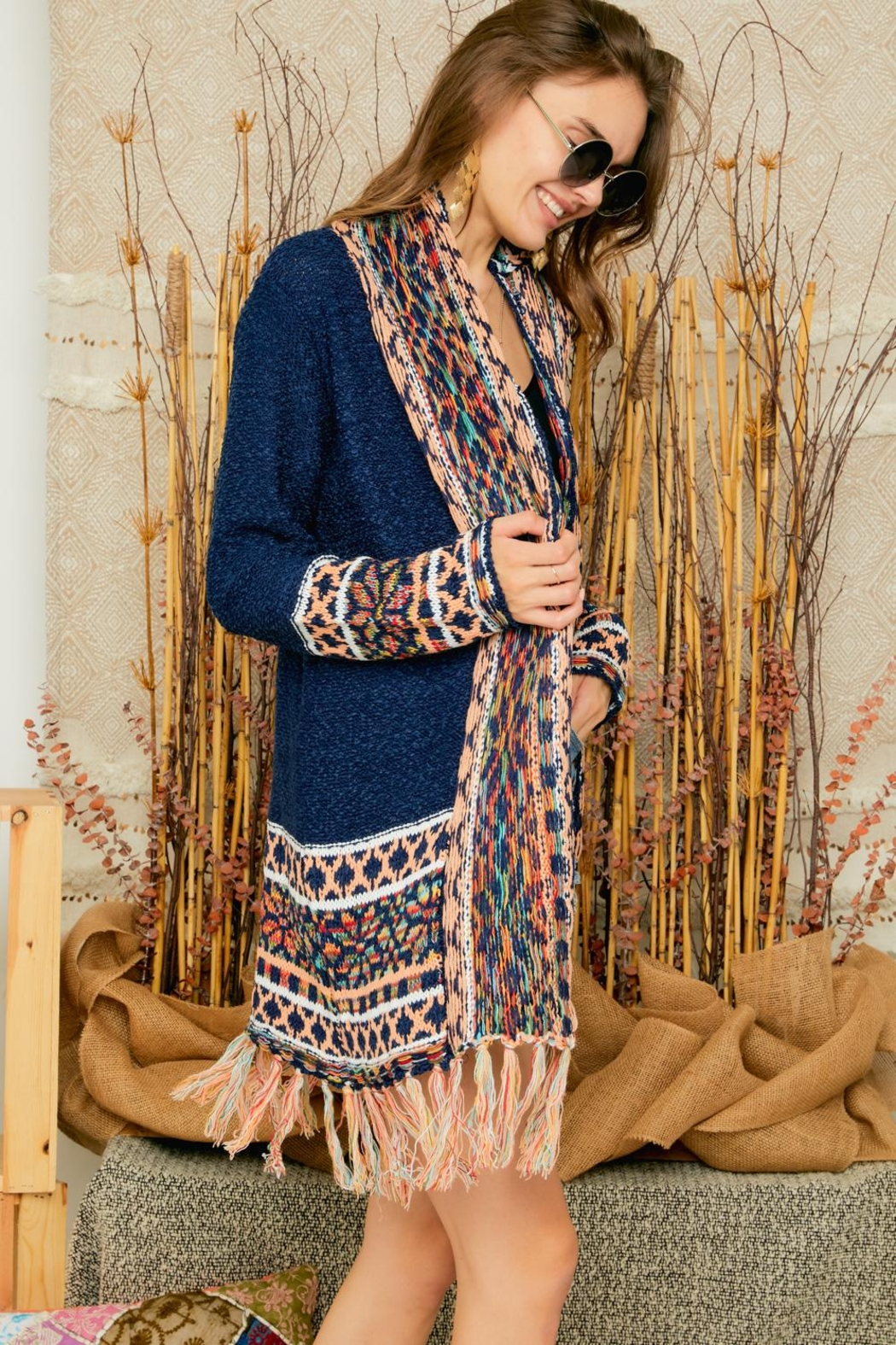 Adora Aztec Tribal Patterned Shawl Collar Knit Cardigan With Tassel - Side Cropped Image