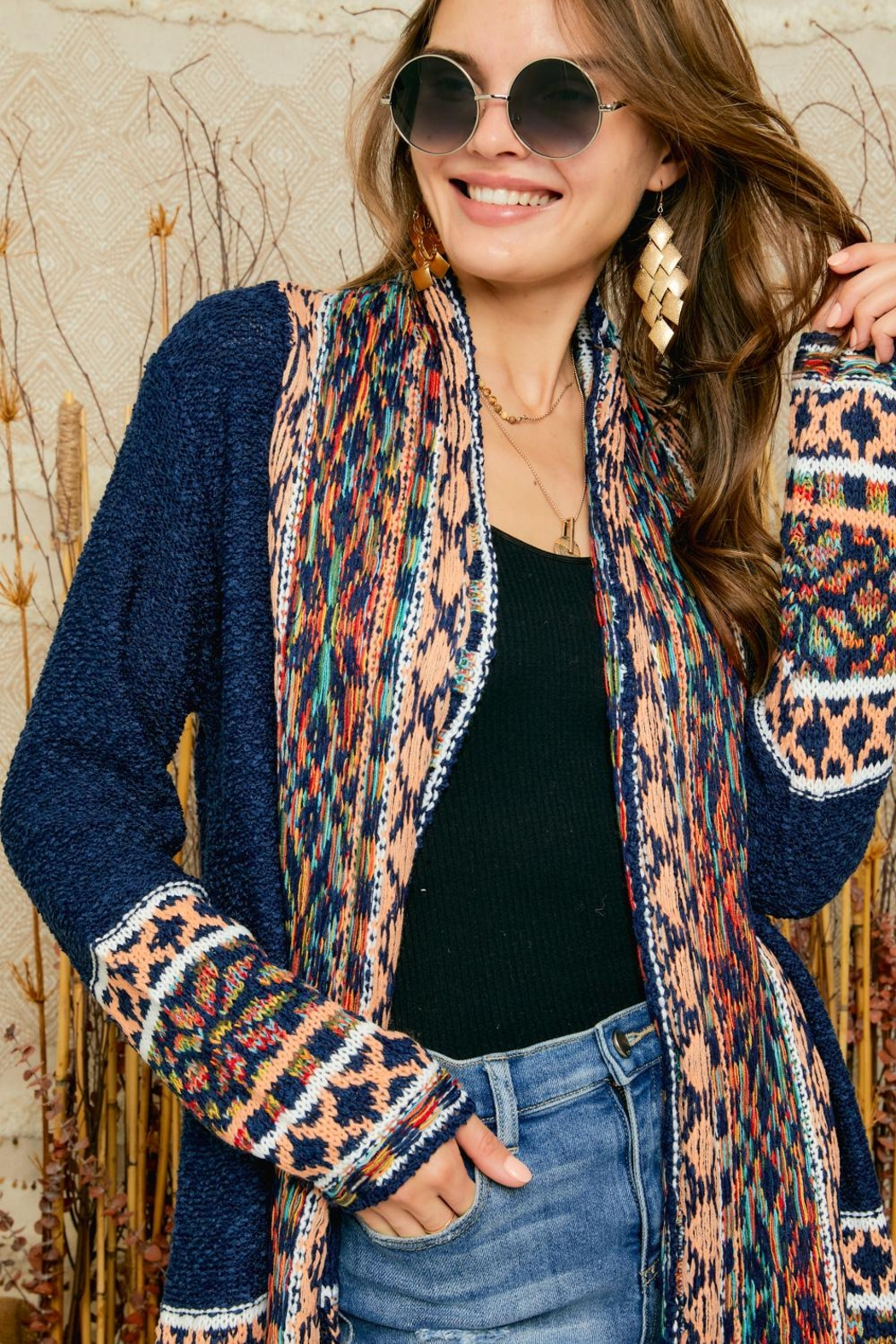 Adora Aztec Tribal Patterned Shawl Collar Knit Cardigan With Tassel - Back Cropped Image