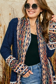 Adora Aztec Tribal Patterned Shawl Collar Knit Cardigan With Tassel - Back cropped