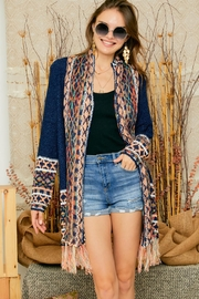 Adora Aztec Tribal Patterned Shawl Collar Knit Cardigan With Tassel - Product Mini Image