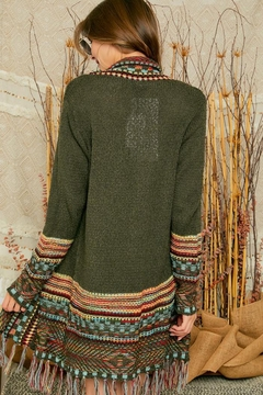 Adora Aztec Tribal Patterned Sweater Knit Cardigan With Fringes - Alternate List Image