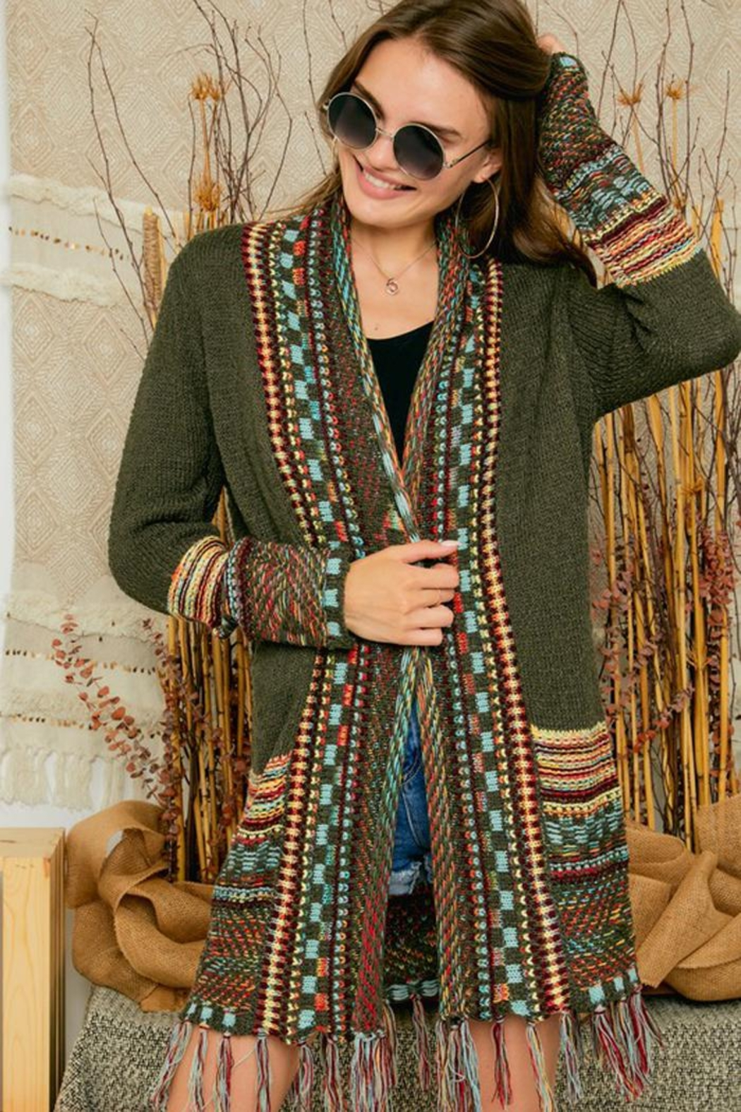 Adora Aztec Tribal Patterned Sweater Knit Cardigan With Fringes - Front Full Image