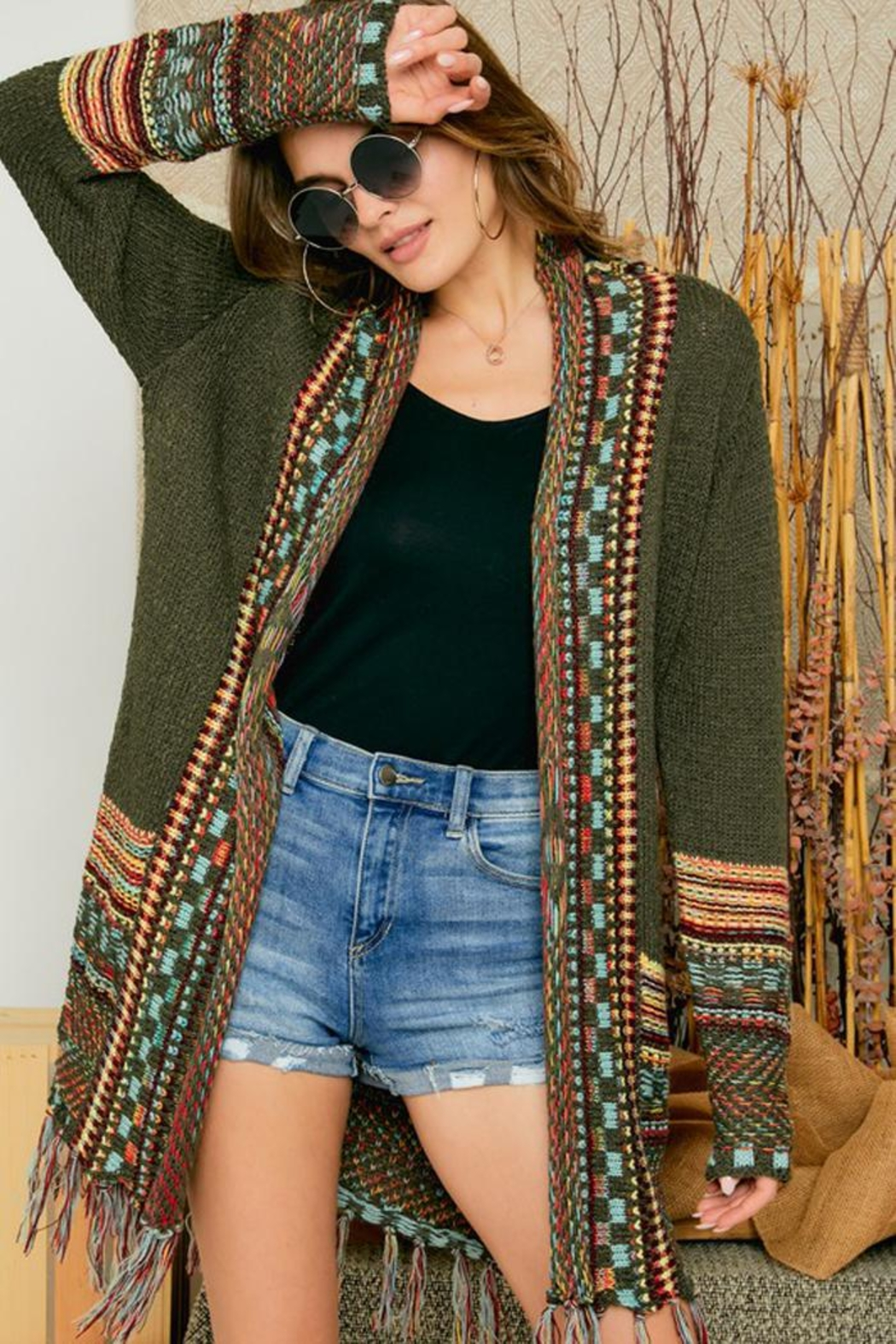 Adora Aztec Tribal Patterned Sweater Knit Cardigan With Fringes - Front Cropped Image