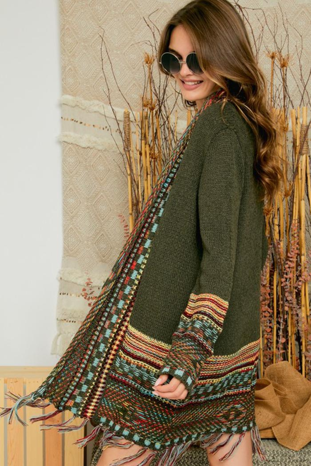 Adora Aztec Tribal Patterned Sweater Knit Cardigan With Fringes - Side Cropped Image