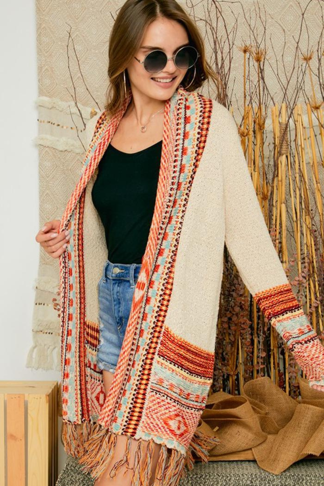 Adora Aztec Tribal Patterned Sweater Knit Cardigan With Fringes - Main Image