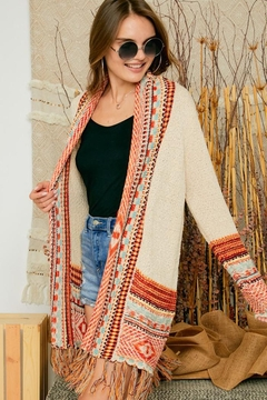 Adora Aztec Tribal Patterned Sweater Knit Cardigan With Fringes - Product List Image