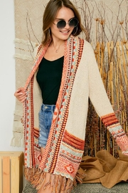 Adora Aztec Tribal Patterned Sweater Knit Cardigan With Fringes - Front cropped