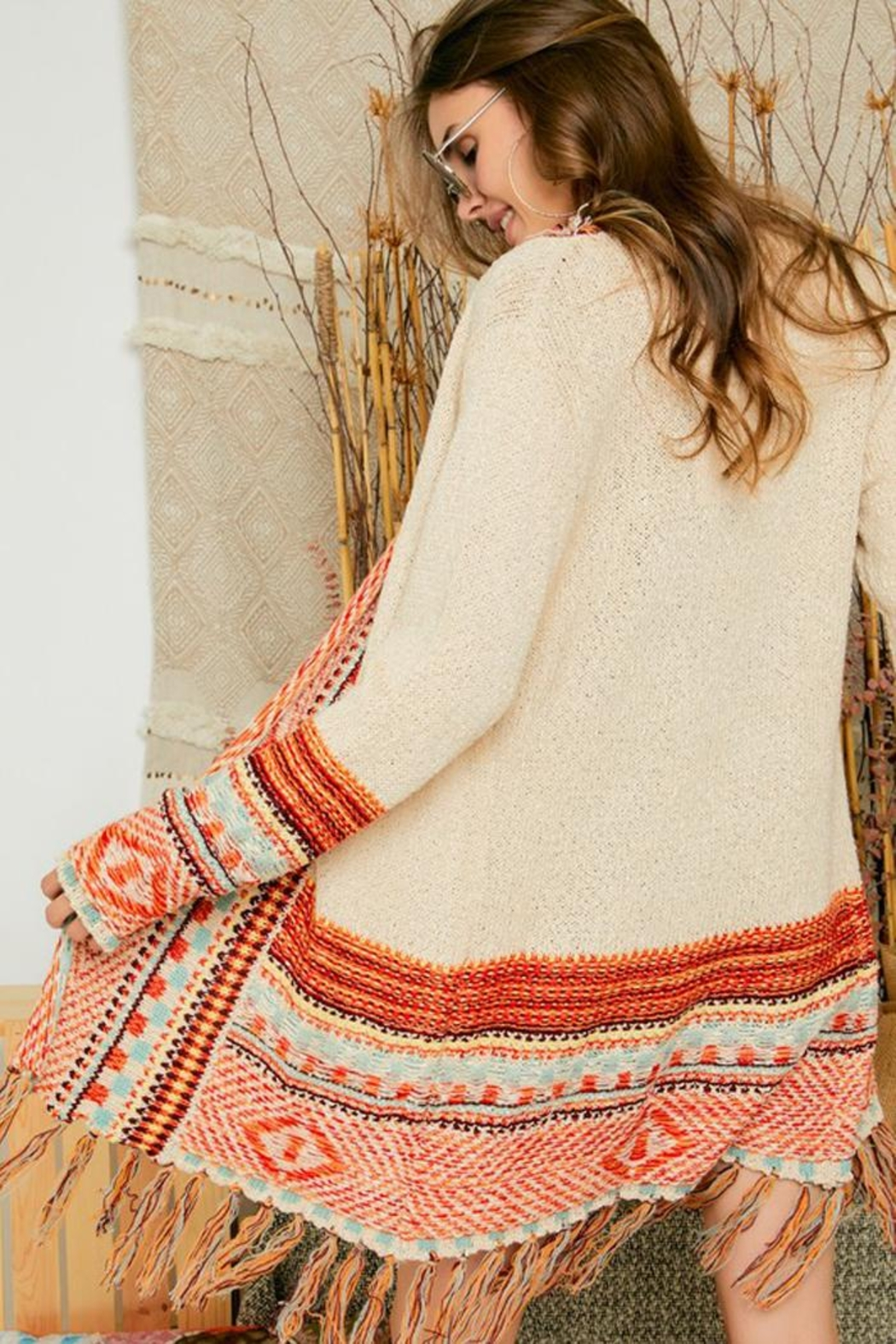 Adora Aztec Tribal Patterned Sweater Knit Cardigan With Fringes - Back Cropped Image