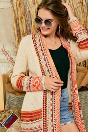 Adora Aztec Tribal Patterned Sweater Knit Cardigan With Fringes - Other
