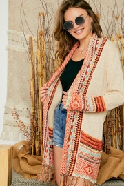 Adora Aztec Tribal Patterned Sweater Knit Cardigan With Fringes - Front full body
