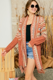 Adora Aztec Tribal Print Boho Knit Sweater Cardigan With Tassel - Front full body