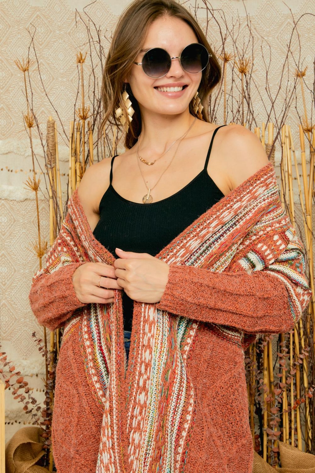 Adora Aztec Tribal Print Boho Knit Sweater Cardigan With Tassel - Back Cropped Image