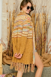 Adora Aztec Tribal Print Boho Knit Sweater Cardigan With Tassel - Back cropped