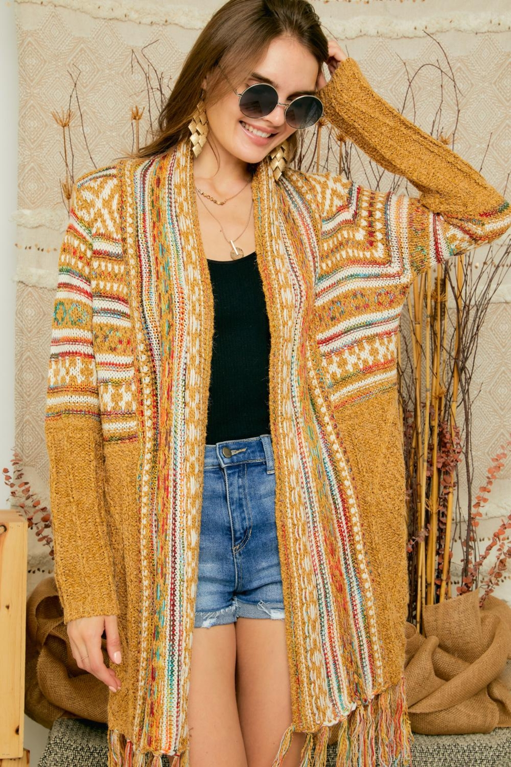Adora Aztec Tribal Print Boho Knit Sweater Cardigan With Tassel - Front Cropped Image