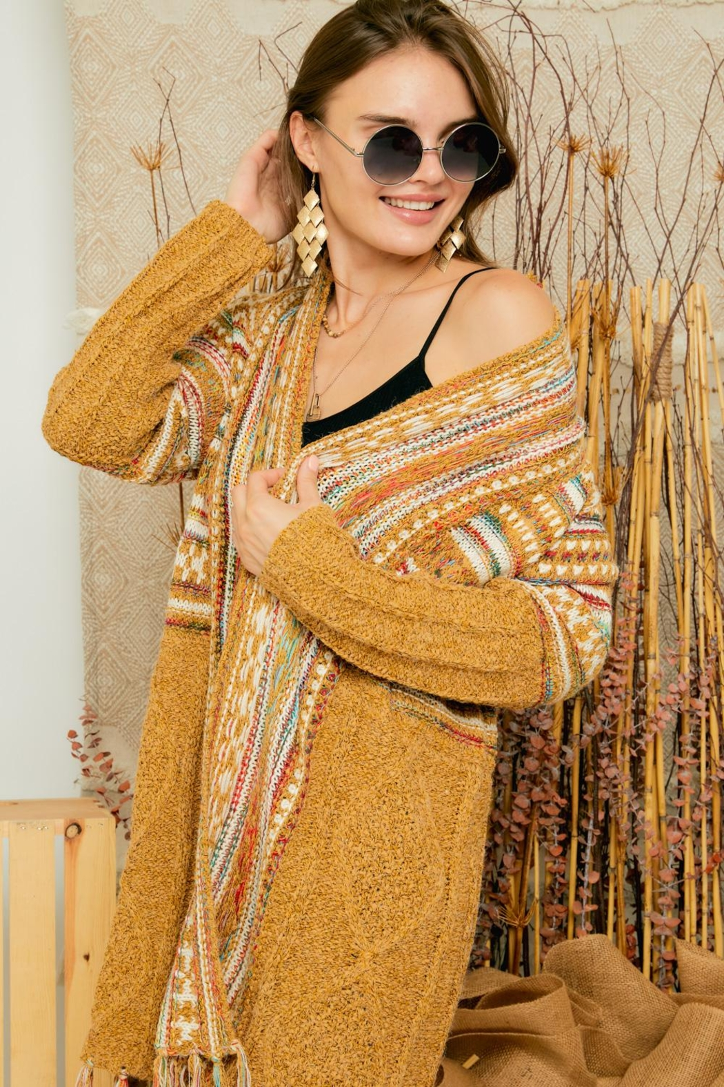 Adora Aztec Tribal Print Boho Knit Sweater Cardigan With Tassel - Side Cropped Image