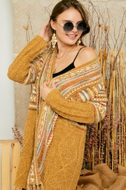 Adora Aztec Tribal Print Boho Knit Sweater Cardigan With Tassel - Side cropped