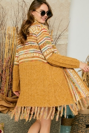Adora Aztec Tribal Print Boho Knit Sweater Cardigan With Tassel - Other