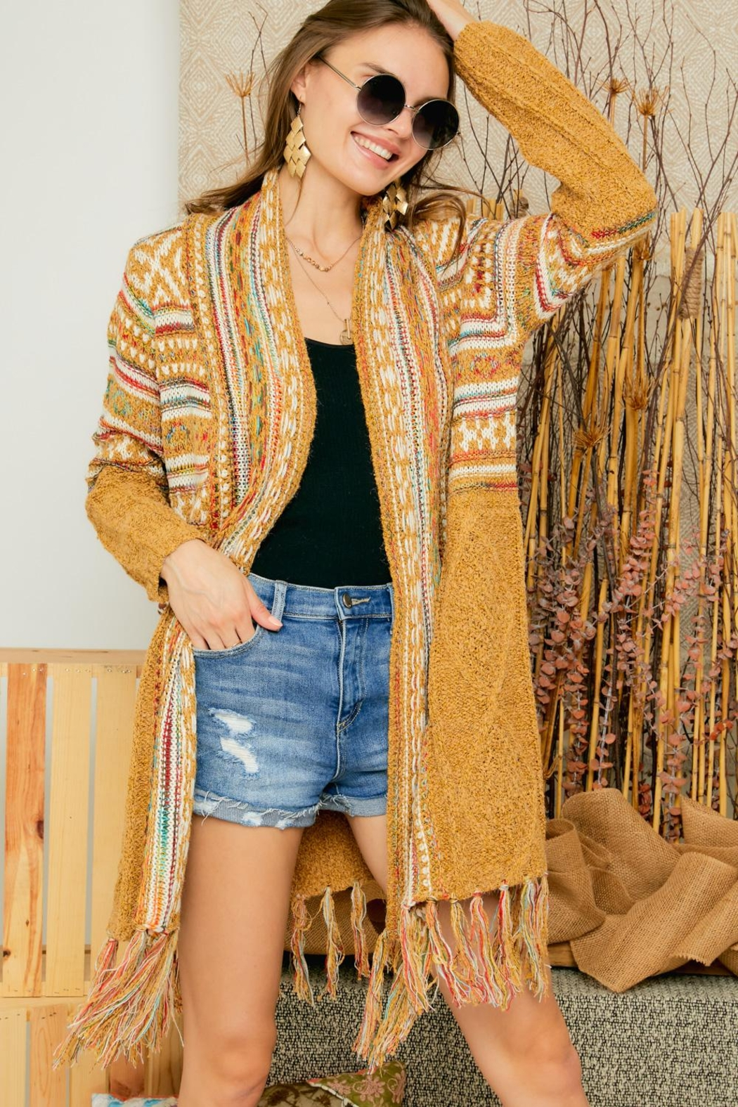 Adora Aztec Tribal Print Boho Knit Sweater Cardigan With Tassel - Front Full Image