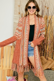 Adora Aztec Tribal Print Boho Knit Sweater Cardigan With Tassel - Product Mini Image