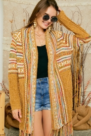 Adora Aztec Tribal Print Boho Knit Sweater Cardigan With Tassel - Front cropped