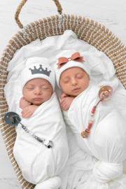Adora Baby Charcoal Crown Gift Set For Boys Newborn(Hat + Pacifier Clip) - Front full body