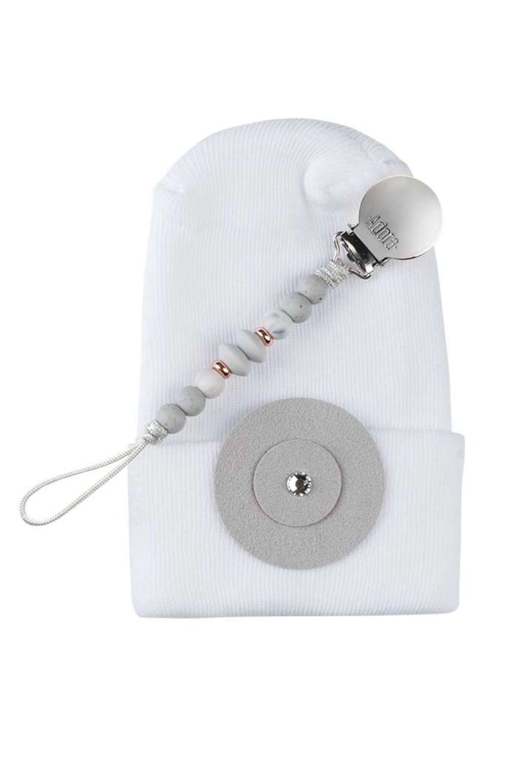 Adora Baby Grey Circle Gift Set For Boys Newborn(Hat + Pacifier Clip) - Front Cropped Image