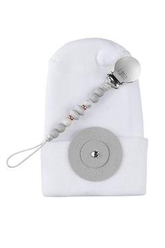 Shoptiques Product: Adora Baby Grey Circle Gift Set For Boys Newborn(Hat + Pacifier Clip)