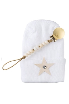 Shoptiques Product: Adora Baby Ivory Star Gift Set For Boys Newborn(Hat + Pacifier Clip)