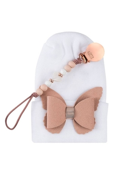 Shoptiques Product: Adora Baby Nude Butterfly Gift Set For Girls Newborn(Hat + Pacifier Clip)