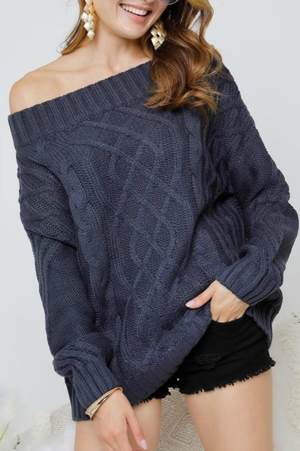 Adora Bailey Off The Shoulder Sweater - Front Full Image