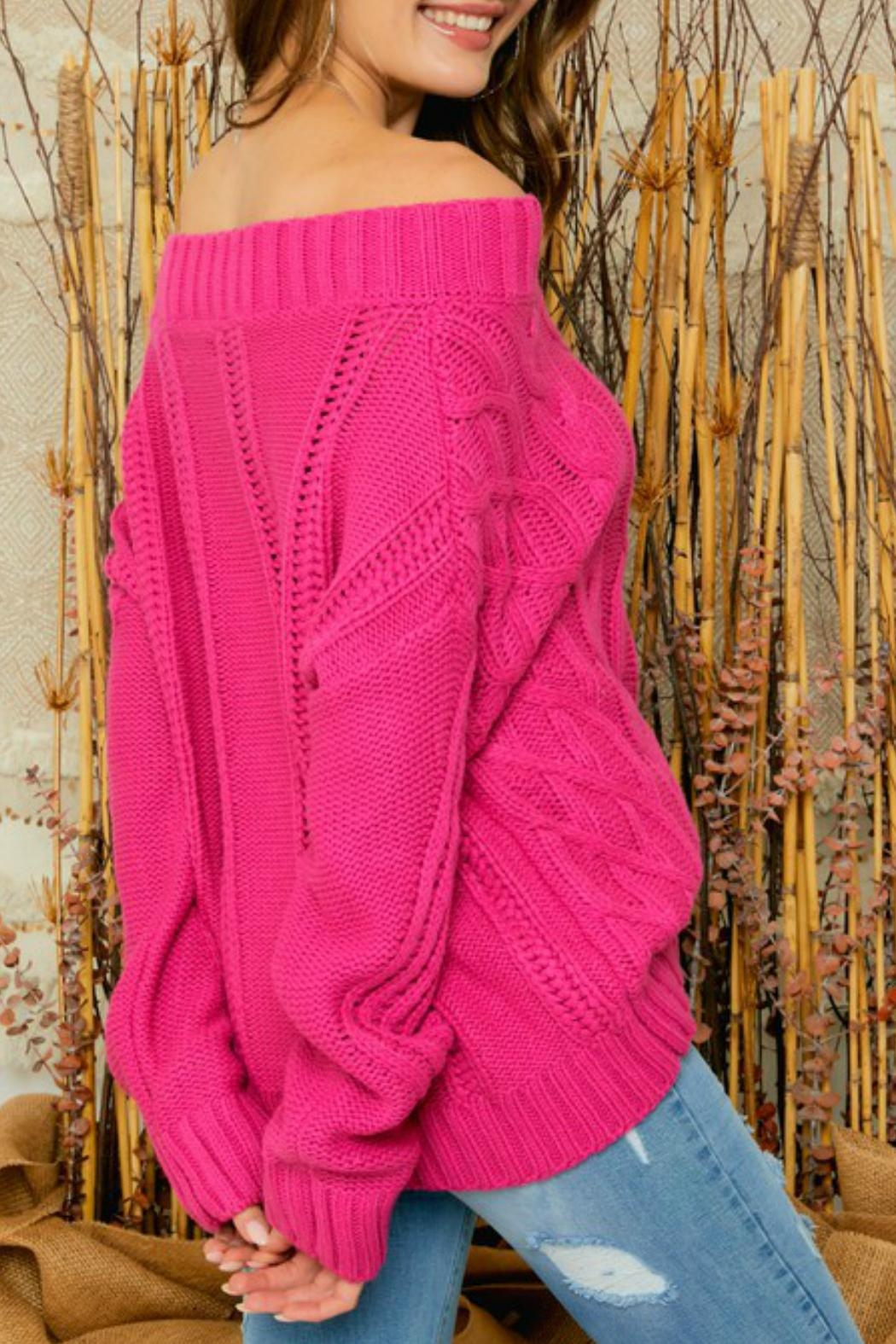 Adora Bailey Off The Shoulder Sweater - Back Cropped Image