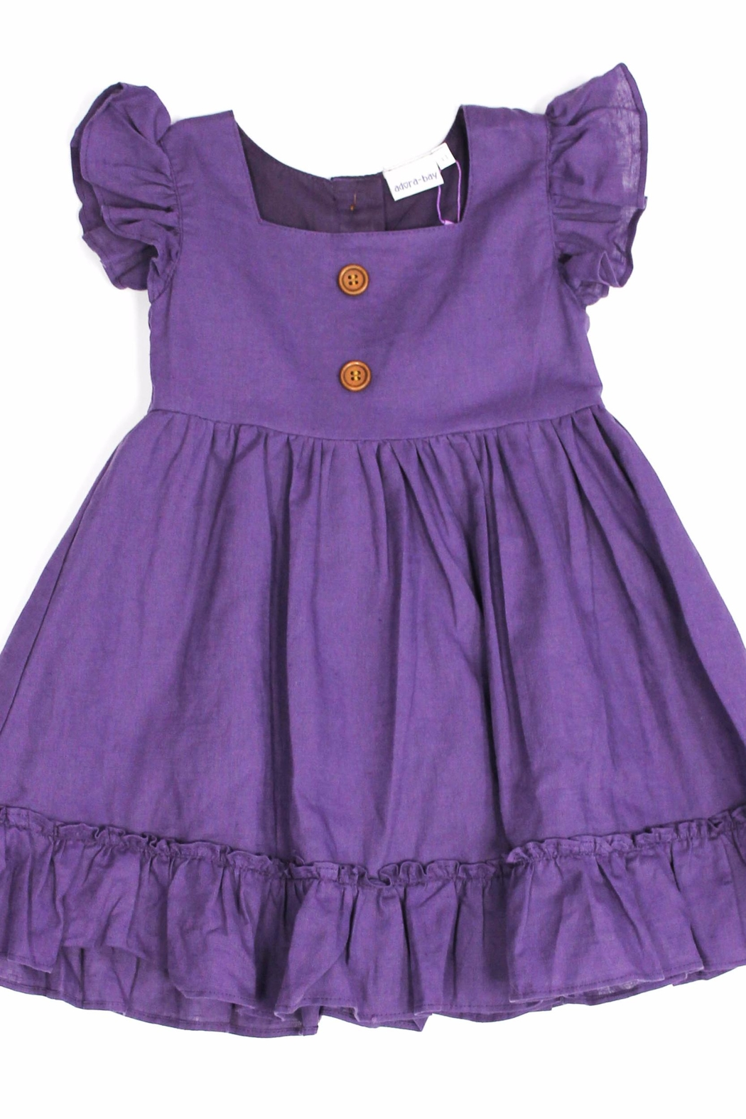 Adora-bay Purple Button Dress - Front Cropped Image