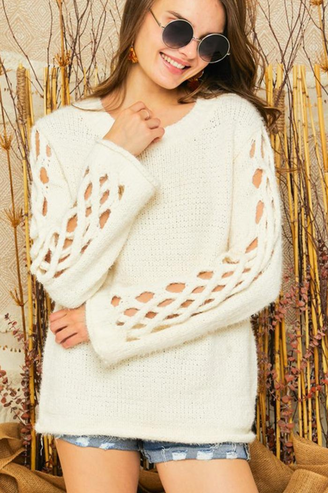 Adora Braided Sleeves Pullover Crew Neck Sweater Knit Jumper - Side Cropped Image