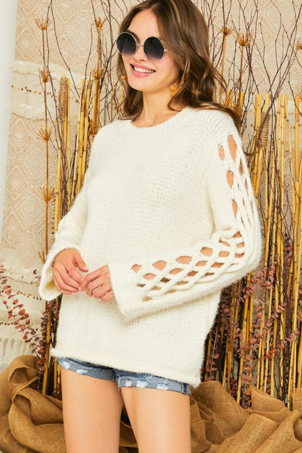 Adora Braided Sleeves Pullover Crew Neck Sweater Knit Jumper - Main Image