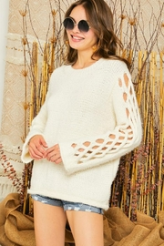 Adora Braided Sleeves Pullover Crew Neck Sweater Knit Jumper - Product Mini Image
