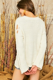 Adora Braided Sleeves Pullover Crew Neck Sweater Knit Jumper - Other