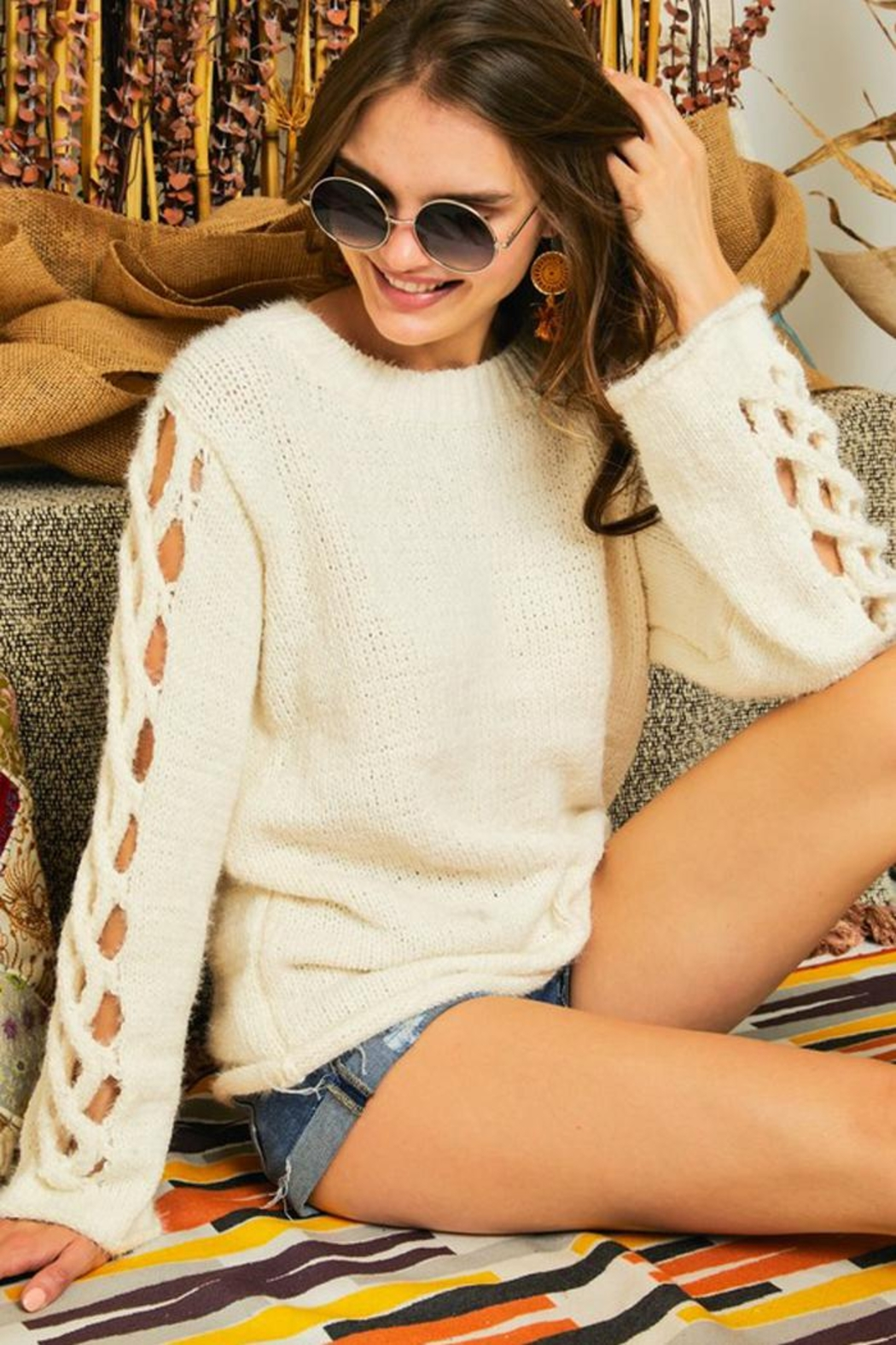 Adora Braided Sleeves Pullover Crew Neck Sweater Knit Jumper - Front Full Image